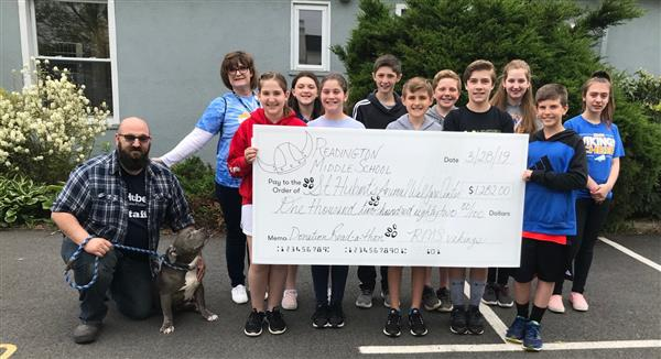 Readington Middle School 6th Grade Students Donate to St. Hubert's Animal Welfare Center